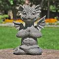 Garden Dragon Meditated Statue Collecting Resin Ornament Outdoor Yard Decoration,Solar Dragon Stone-Like Statue with Gazing Ball Outdoor Yard Decoration with solar Waterproof lights ( Color : A )