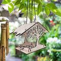 Bird Feeder Hanging for Garden Yard Decoration, DIY Wooden House Garden Hummingbird Bird Feeder, Courtyard Balcony Feeder, Wooden Birdhouse Garden Bird Feeder Garden Gifts, Hummingbird Nesting