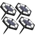 YCZDG 4 Pieces 12 Led Solar Buried Lamps Garden Lawn Stairs Outdoor Decking Ground Lights Solar Power Led Waterproof Easy Installation