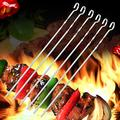 JIANGGE Marshmallow Roasting Sticks Stainless Steel Hanging Stove Barbecue Flat Sign, 40cm Thick Barbecue Needle, Hanging Pot Barbecue Steel Sign for BBQ/Bonfire/Campfire/Hotdog/Grilling
