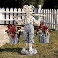 Flowers for Felicity Little Girl Garden Sculpture,Statue Beautiful Realistic Figure Statue Two Tone Stone Garden Statues - Realistic Figure Statue Garden Decor Outdoor Decorations Does Not Fade
