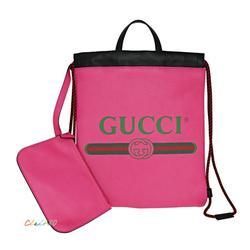 Gucci Bags   Gucci 523586 Logo Print Print Drawstring Backpack   Color: Pink   Size: 12l X 0.5w X 14h