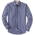 CQR Men's Regular Fit Long Sleeve Shirts, 100% Cotton Button-Up Casual Poplin Shirt, Poplin(tol503) - Magnetic Blue, XXX-Large