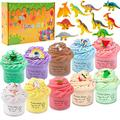 Powerole 10 Pack Dinosaur Butter Slime Kit,with Coffee,Rainbow,Unicorn,Ice Cream,Watermelon,Peach Slime ,Soft and Non-Sticky DIY Novelty Slime Toy,Stress Relief Toys for Girl Boy
