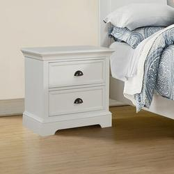 Greyleigh™ Alicea 2 - Drawer Nightstand Wood in White/Brown, Size 25.5 H x 25.0 W x 18.0 D in   Wayfair 6ABD0413D0A5465BB12EB8F5A31D5281