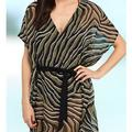 Michael Kors Swim   Michael Kors Zebra Print Swim Caftan Cover Up   Color: Gray   Size: S