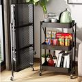 3-Tier Foldable Rolling Utility Cart Storage Shelf Rack with Wheels and Mesh Baskets Organizer Cart Multifunction Rolling Storage Trolley Service Cart for Bathroom, Kitchen, Office, Laundry Room