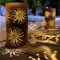 pearlstar Outdoor Solar Table Lamp 2pack Metal Sunflower Shape Solar Lantern Lights, Retro Orange Finish, Outside Decor for Patio Garden Yard Pathway Tabletop Waterproof(Sunflower )