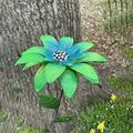 Garden Stakes Metal Daylily Flower Garden Stakes Decor, Waterproof Metal Flower Garden Stakes, Garden Metal Daylily Flower Stick Decor, Spring Garden Art Ornaments for Lawn Yard Patio (3, Green)