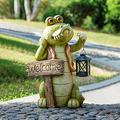 ZXM Outdoor Garden Resin Crocodile Statue Decoration, Resin Sculptures and Statues for Garden with Solar Led Lights, Used for Lawn/Backyard/Terrace Garden Art Decorations (Color : Green)