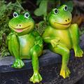 Indoor or Outdoor Sculpture Decoration Sitting Frogs Statue Resin Garden Ornament Outdoor Frog Sculpture Garden Decor Ornaments Garden Lawn Porch Decor Decorative Sculptures for Lawns and Yards