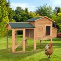 Outdoor Wooden Chicken Coop 2-Tier Large Chicken Coop Indoor/Outdoor Pets Crate House with Ramps, Run, Nesting Box, Wire Fence Chicken Coop for 3-4 Chickens (Color : Primary-66.1x29.5x40.5inches)