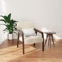 George Oliver Arm Chair Accent Chair, Wooden Mid-century Modern Accent Chairs, Elegant Upholstered Lounge Chair For Living Room, Bedroom | Wayfair
