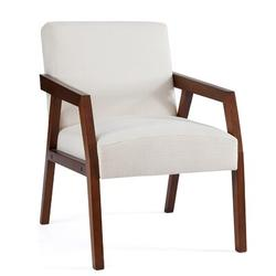 George Oliver Arm Chair Accent Chair, Wooden Mid-century Modern Accent Chairs, Elegant Upholstered Lounge Chair For Living Room, Bedroom in White