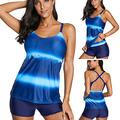 Johtae Tankini Swimsuits for Women,Summer Bathing Suit Plus Size Print Strappy Back Tankini Set Two Piece Swimsuits with High Waist Boyshorts, (Blue,L)