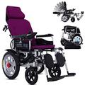 TTWUJIN Lightweight Wheelchair,Lightweight Foldable Power Wheelchair, Electric with Headrest,with Reclinable Backrest and Dual Powerful Motor Portable Transit Travel for Disabled and Elderly Mobility