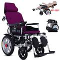TTWUJIN Lightweight Wheelchair,Lightweight Foldable Power Wheelchair, with Reclinable Backrest and Dual Powerful Motor Portable Transit Travel for Disabled and Elderly Mobility, Fully Lying Adjustabl