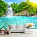 MAZF Custom Photo Wallpaper 3D Waterfall River Forest Nature Mural Wall Cloth Living Room TV Sofa Bedroom Home Decor Wall Covering 3D 300 cm (B) x 250 cm (H)