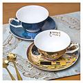 Latte Art Cup Vintage Oil Painting Teacups and Saucer Sets Porcelain Tea Cup with Saucer and Spoon Espresso Cups and Saucer Set Of 2 for Coffee and Afternoon Tea, 4.1 X 2.2X 5.9 Inches tea