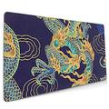 LEEYIEN Oversize Mouse Pad Non-Slip Waterproof Base Washable Desk Writing Pad Gaming Surface 15.8 X 35.5 in Cool Chinese Dragon Purple