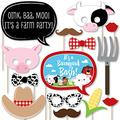 Farm Animals - Baby Shower or Birthday Photo Booth Props Kit - 20 Count
