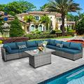 """Patio Furniture Sectional Sofa Set 9 Pieces PE Rattan Outdoor Wicker Furniture Couch Adjustable Storage Table with Thicken(5"""") Anti-Slip Peacock Blue Cushions Furniture Cover"""
