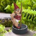Garden Pole Dancing Goblin Resin Goblin Statue Garden Courtyard Lawn Sculpture Fairy Funny Home Yard Art Decoration Garden Resin Statues Craft for Home/Garden/Office/Table Decor Statue
