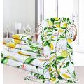 3Pcs Lemon Bath Towels Set Include Bath Towel, Hand Towel and Wash Towel, Yellow Lime Tree Beach Towel Set for Bathroom, Super Soft Water Absorbent Beach Towel for Travel, Swim, Outdoor