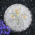 UP6Per Outdoor Decorative Stones 13.8 inch Round Concrete Garden Stepping Stone Lawn Plaque with Flower Garden Sign Hand Painted Foot Lawn Outdoor Ornament (Color : C)
