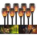 SKYWPOJU Solar Torch Garden Solar Flame Light with Waterproof IP65 Garden Lights 4/8 Pieces Solar Light Automatic ON/Off Solar Torch Solar Lamps with Realistic Flames for Outdoor/Garden / (12LED)