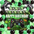 Video Game Party Supplies Backdrop Game on Birthday Party Backdrop Banner Gaming Theme Party Including Banner Black Green Balloons for Birthday Party For Boy Gamer Birthday Party Decoration