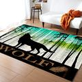 Large Area Rugs 4' x 6' Throw Carpet Floor Cover Nursery Rugs for Children, The Wolf Silhouette Pine Forest Modern Kitchen Mat Runner Rugs for Living Room/Bedroom Retro Gradient Wood Grain