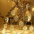 FULCLOUD Halloween String Lights 9.8ft 20 LED Battery Powered Waterproof Skeleton Pumpkin Fairy Lights, 2 Modes Steady/Flash Lights for Outdoor Indoor Christmas Party Holiday Decorations (Skull-1)