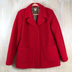 J. Crew Jackets & Coats | J. Crew Red Boiled Wool Blend Pea Coat Jacket | Color: Red | Size: 14