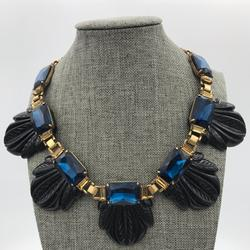J. Crew Jewelry | J Crew Statement Resin Collar Necklace | Color: Black/Blue | Size: 18 To 20 Inches