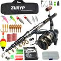 ZURYP – canne à pêche spinning télescopique de 2.1 à 3m, en carbone, combo, ensemble de canne