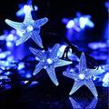 Solar Starfish String Lights,WONFAST Waterproof 20ft 30 LED Starfish Fairy String Lights with 2 Modes Christmas Solar String Lights for Garden, Wedding, Party and Holiday Decorations (Blue)