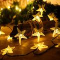 Solar Starfish String Lights,WONFAST Waterproof 20ft 30 LED Starfish Fairy String Lights with 2 Modes Christmas Solar String Lights for Garden, Wedding, Party and Holiday Decorations (Warm White)