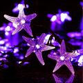 Solar Starfish String Lights,WONFAST Waterproof 20ft 30 LED Starfish Fairy String Lights with 2 Modes Christmas Solar String Lights for Garden, Wedding, Party and Holiday Decorations (Purple)