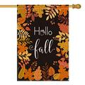 LuckyTagy Hello Fall Maple Leaf Leaves House Flag Vertical Double Sided, Seasonal Autumn Harvest Vintage Thanksgiving Rustic Yard Outdoor Decoration 28 x 40 Inch