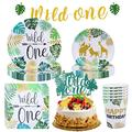 NEI Jungle Animal Themed Birthday Party Supplies Include Plates Straws and Napkins for Party Decoration, Baby Showers, Outdoor Dinners Serves 16 Guests