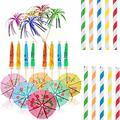 Cocktail Firework Cupcake Picks Party Cake Toppers Food Picks,Cocktail Party Sticks Toothpick Food Decorative Stick For Party Picnic (50 umbrella sticks + 50 straws + 100 fireworks sticks)
