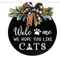BHSHUXI Wood Cat Sign Decor Cat Lover Sign,Cat Welcome Sign We Hope You Like Cats Wooden Door Hanger,Welcome Sign for Front Door Wreath Wooden Hanging Sign