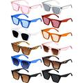 12 Pairs Vintage Square Cat Eye Sunglasses Oversized Sunglasses Retro Plastic Frame Cat Eye Polarized Sunglasses Unisex Men Women
