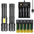 [2 Pack]USB Rechargeable COB+LED Flashlights,Super Bright 1500 Lumen, 7 Lighting Modes Zoomable Flashlights With 10 PCS Rechargeable Battery And 4-Slot USB Charger -Best Camping,Handheld Flashlights