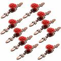 Frolahouse 10Pcs Red Ceramic Cabinet Knobs, Diameter 41mm Rose Flower with Red Bronze Plate,Modern Hardware Materials, Drawer Handles,Wardrobe Pulls