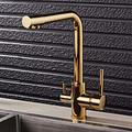 Kitchen Drinking Water Filtered Faucet Deck Mounted Dual Handle Double Nozzle Taps Hot Cold Mixer 360 Degree Rotation Filter Tap