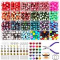 Acrylic Patterns Round Loose Beads for Jewelry Making Kit,FEEIN 18 Colors Chakra Beads Lava Beads Jewelry Making Bulk Supplies,Bracelet Earring Necklace Making,DIY Jewelry Making Kit Adults