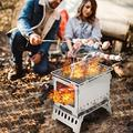 Charcoal GrillsCharcoal Grill Barbecue, Portable Stainless Steel Smoker BBQ, Folding Wood Burning Barbecues, Tabletop Grill for Outdoor Garden Cooking Camping Hiking Picnic