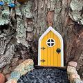 XXXXW Garden Sculpture Creative Yard Art Garden Sculpture Decor Home Window Door for Trees Open Doors Gnome Garden Accessory Home Decoration Gifts Gardening Gifts (Color : Yellow)